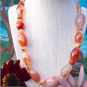 Carnelian and Copper Bead Necklace, 30'', NWT